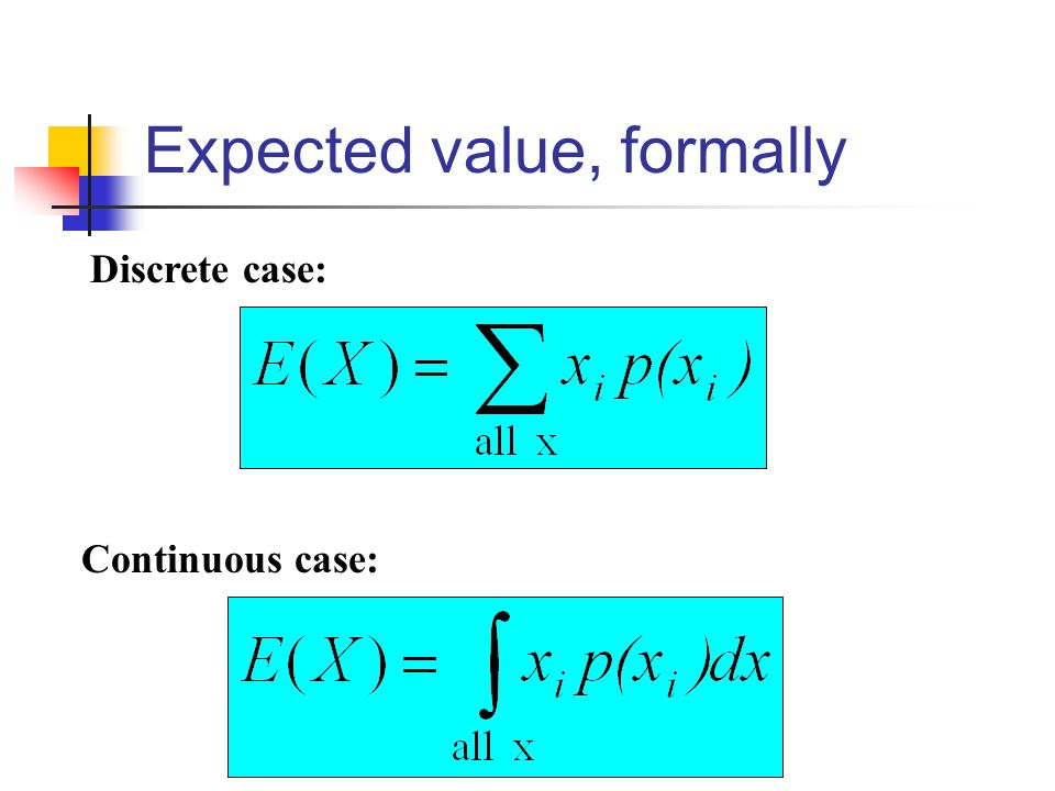 Expected value, formally