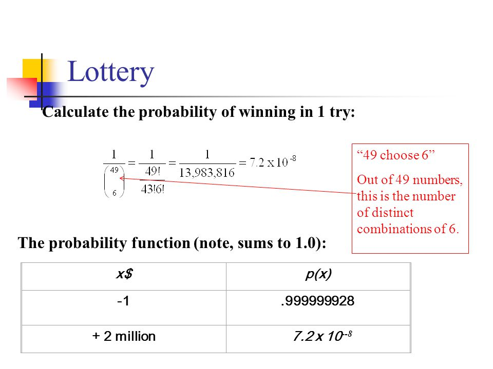 Lottery Calculate the probability of winning in 1 try: