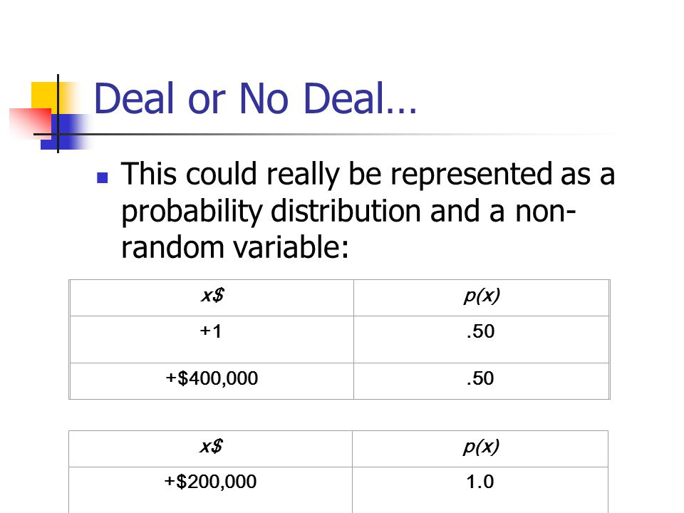 Deal or No Deal… This could really be represented as a probability distribution and a non-random variable: