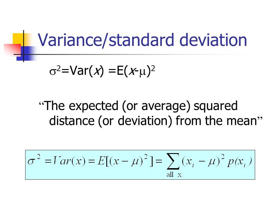 Variance/standard deviation