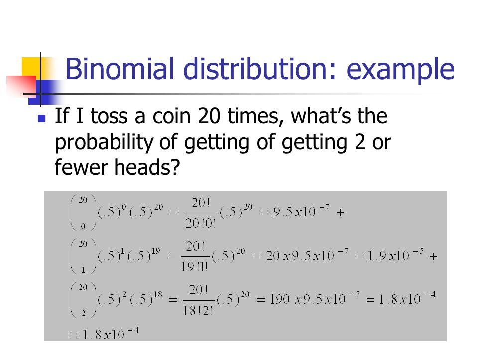 Binomial distribution: example