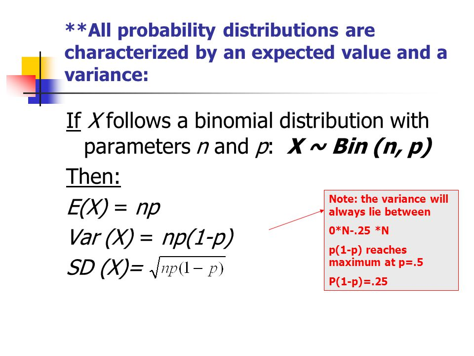 **All probability distributions are characterized by an expected value and a variance: