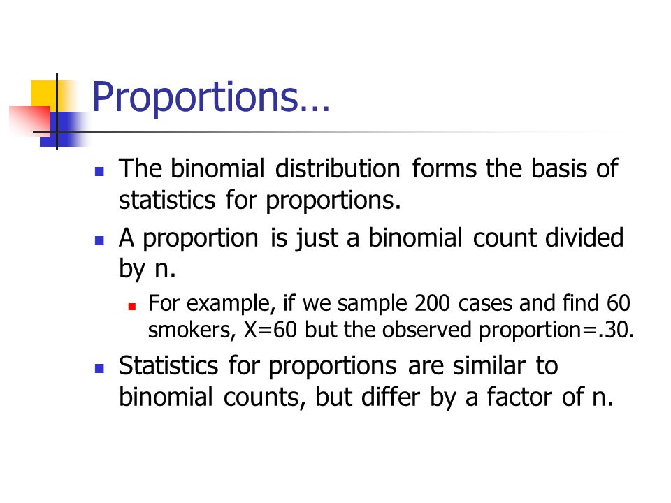 Proportions… The binomial distribution forms the basis of statistics for proportions. A proportion is just a binomial count divided by n.