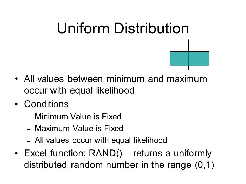 Uniform Distribution All values between minimum and maximum occur with equal likelihood. Conditions.