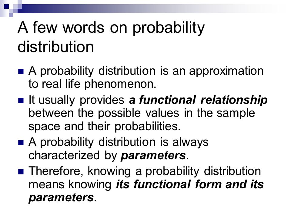 A few words on probability distribution