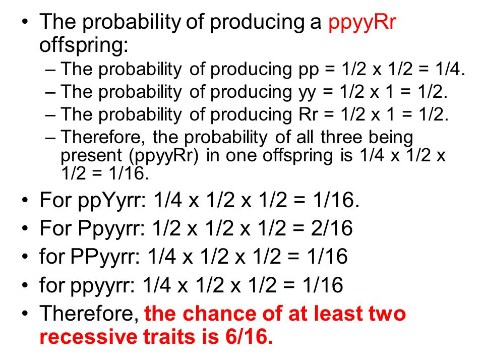 The probability of producing a ppyyRr offspring: