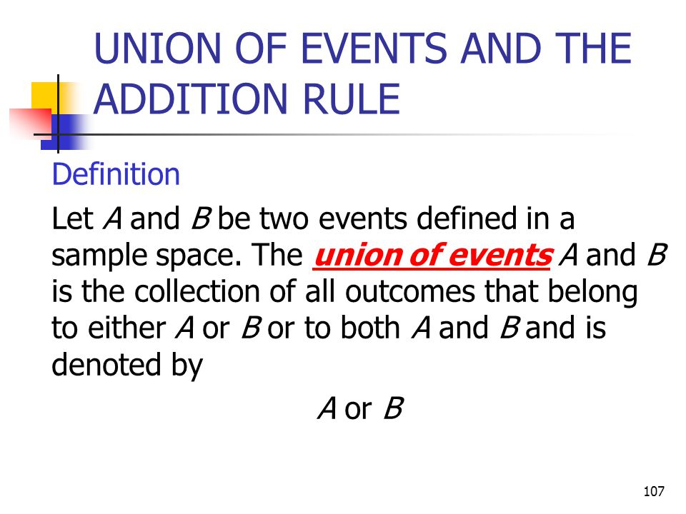 UNION OF EVENTS AND THE ADDITION RULE