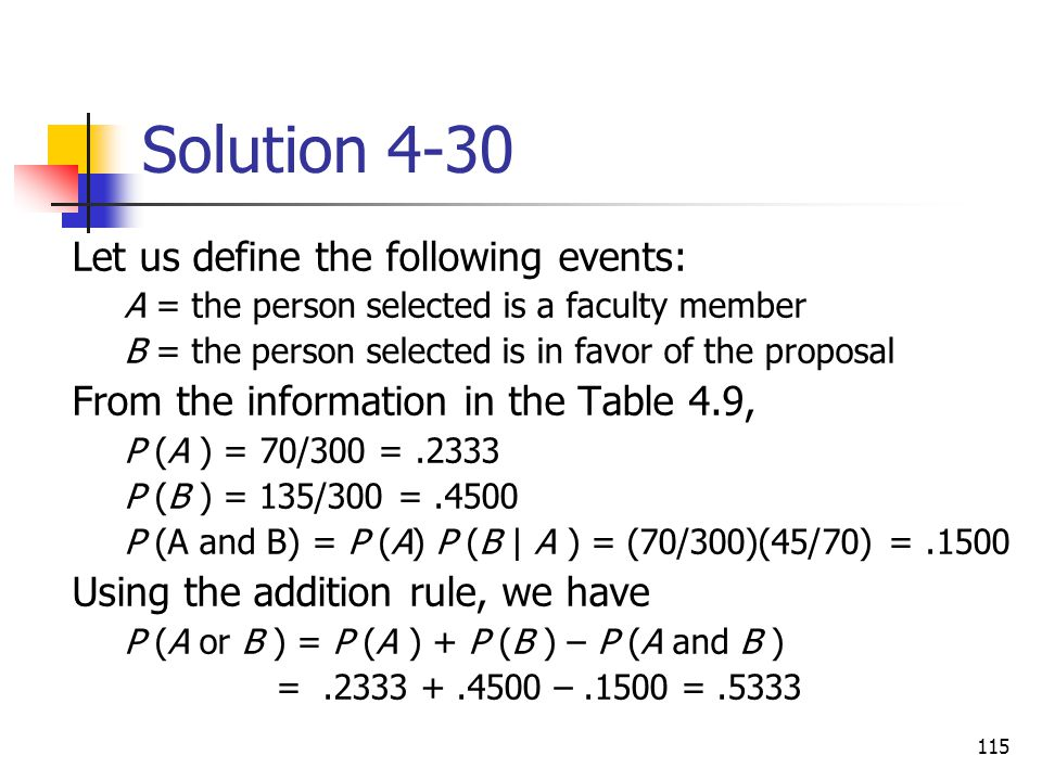 Solution 4-30 Let us define the following events: