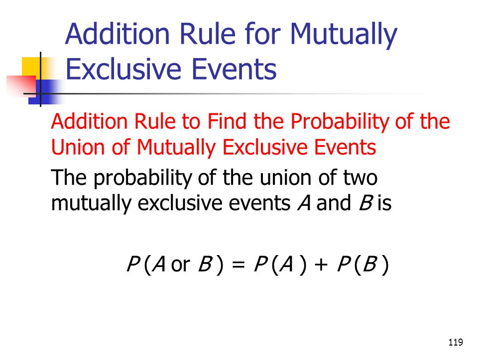 Addition Rule for Mutually Exclusive Events