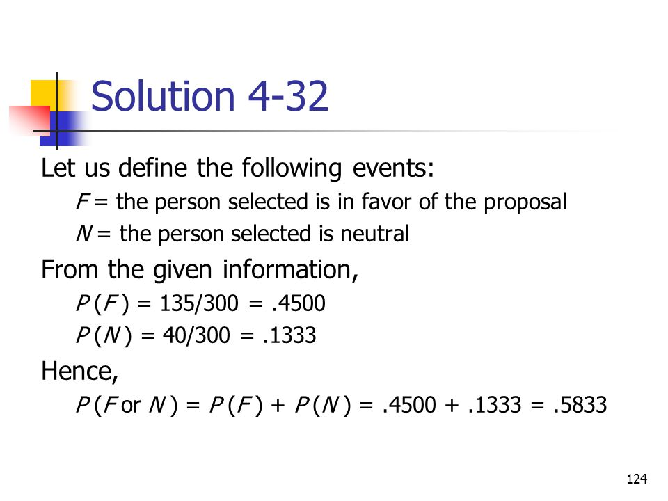 Solution 4-32 Let us define the following events: