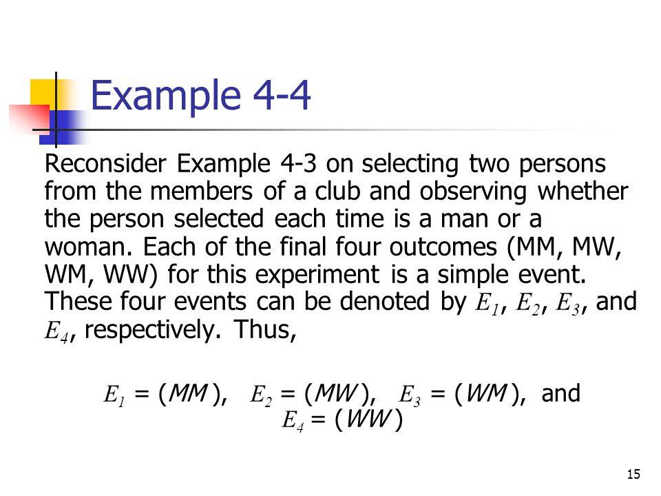 E1 = (MM ), E2 = (MW ), E3 = (WM ), and E4 = (WW )