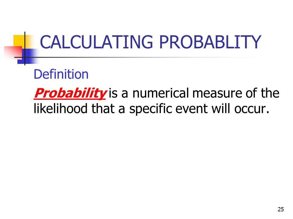 CALCULATING PROBABLITY