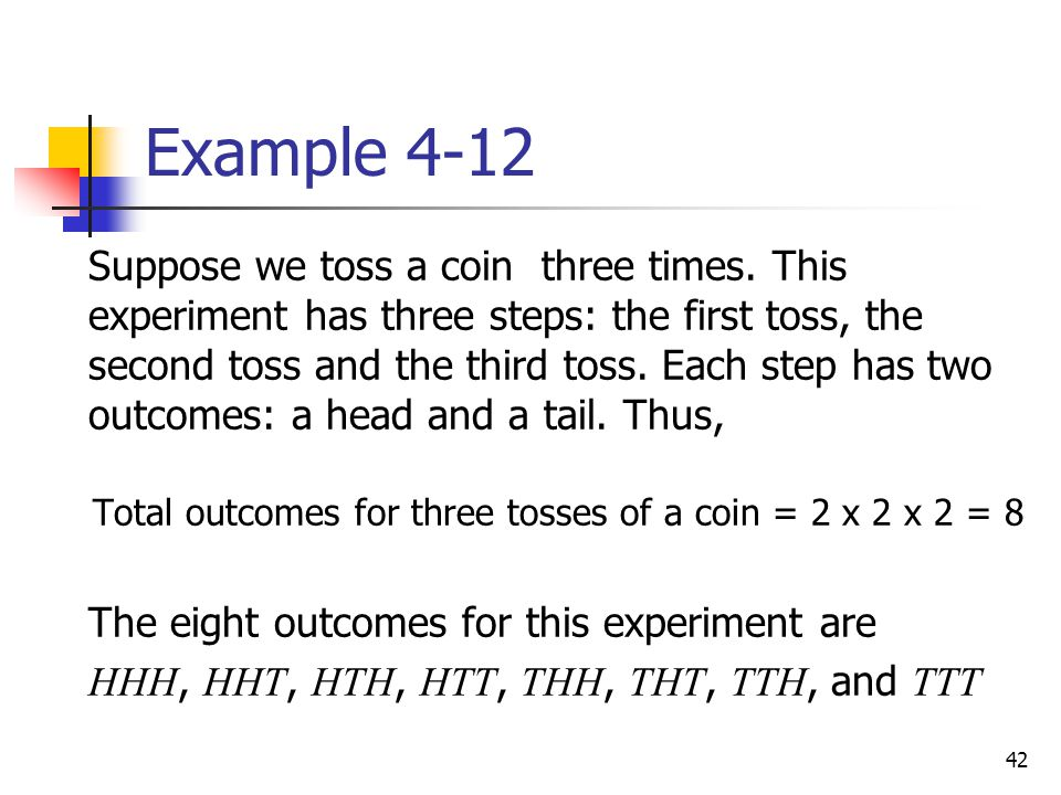 Total outcomes for three tosses of a coin = 2 x 2 x 2 = 8