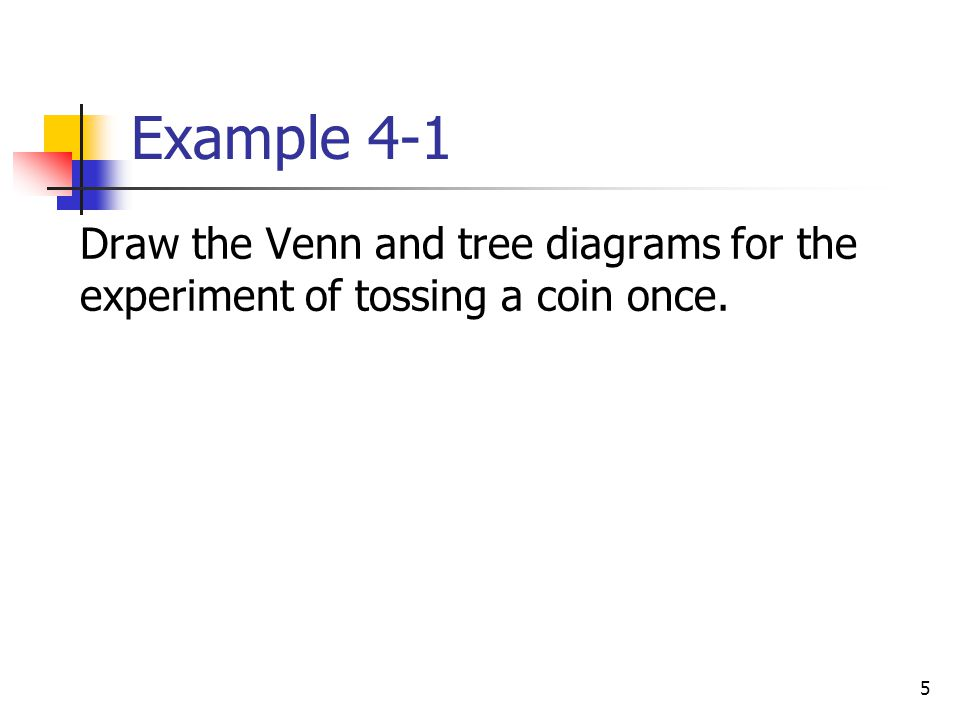 Example 4-1 Draw the Venn and tree diagrams for the experiment of tossing a coin once.
