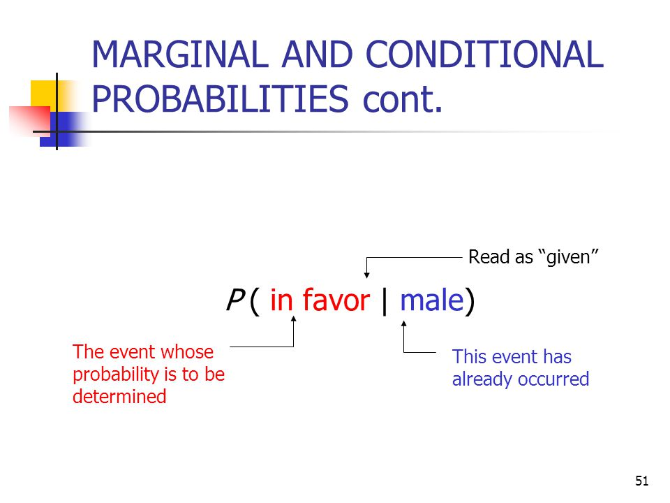 MARGINAL AND CONDITIONAL PROBABILITIES cont.