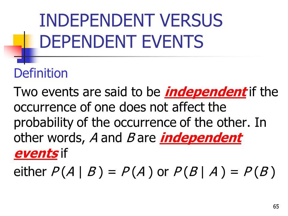 INDEPENDENT VERSUS DEPENDENT EVENTS