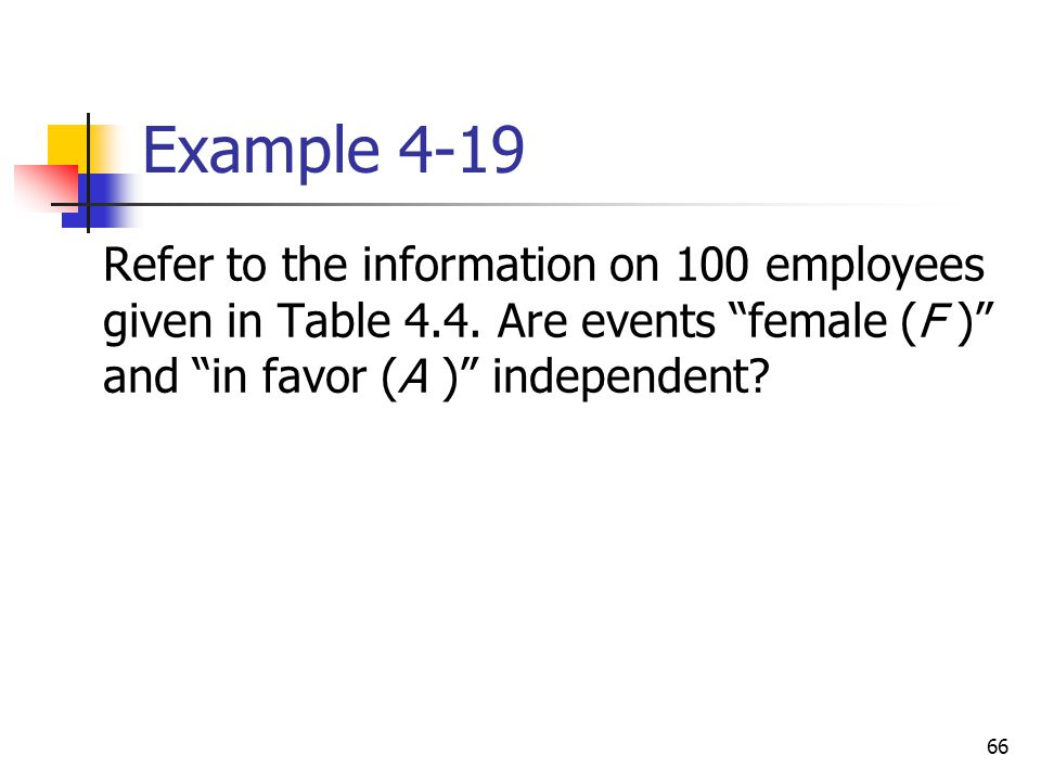 Example 4-19 Refer to the information on 100 employees given in Table 4.4.