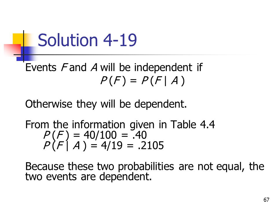 Solution 4-19 Events F and A will be independent if