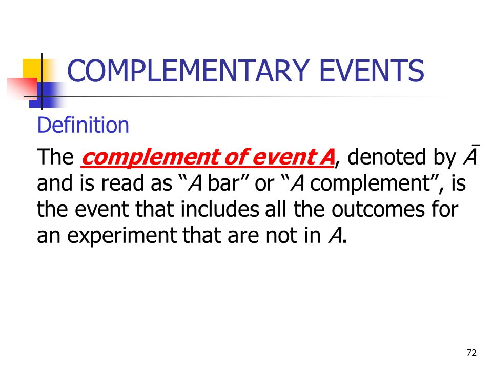 COMPLEMENTARY EVENTS Definition