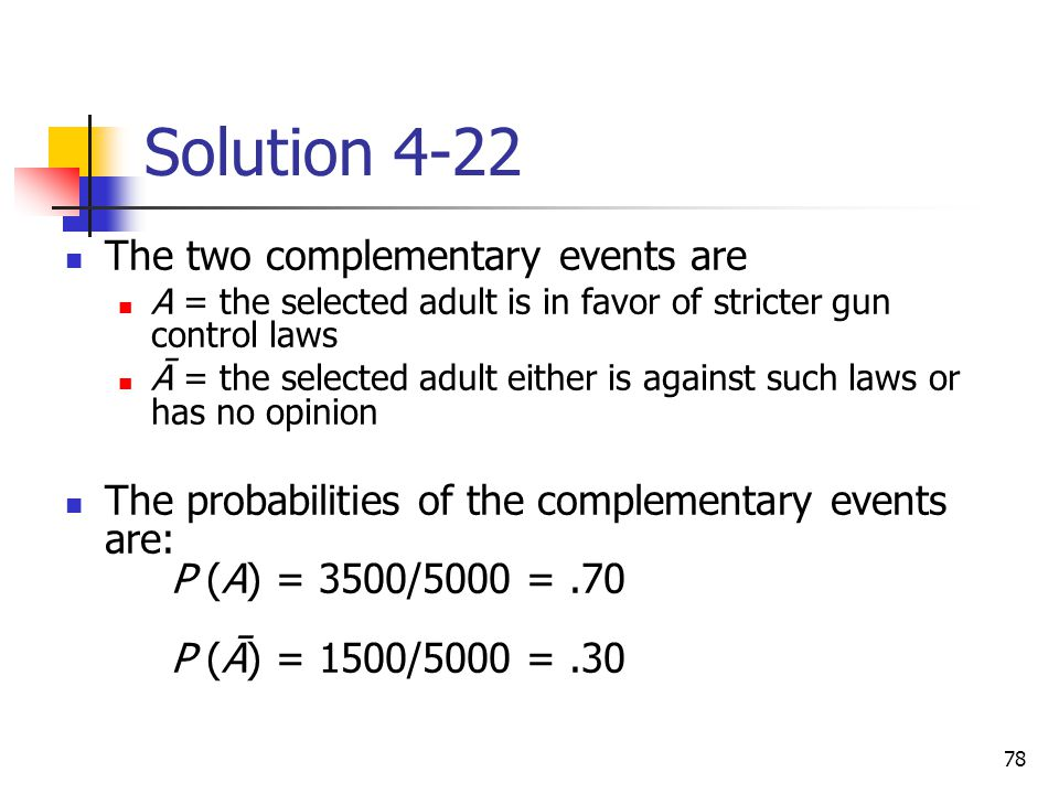 Solution 4-22 The two complementary events are