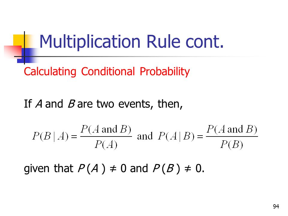 Multiplication Rule cont.