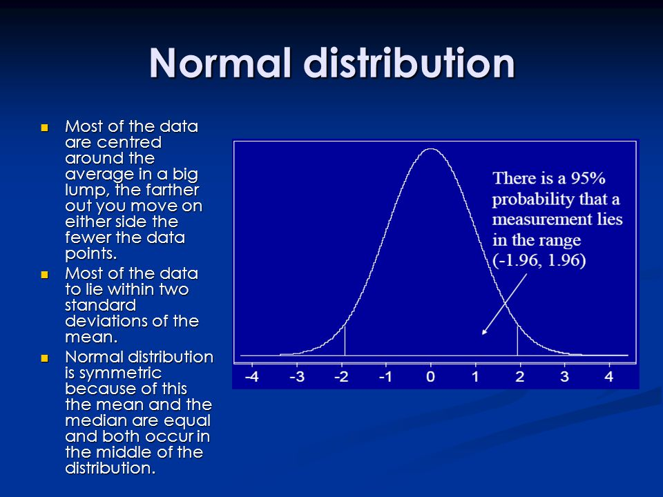 Normal distribution Most of the data are centred around the average in a big lump, the farther out you move on either side the fewer the data points.