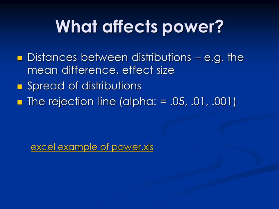 What affects power Distances between distributions – e.g. the mean difference, effect size. Spread of distributions.