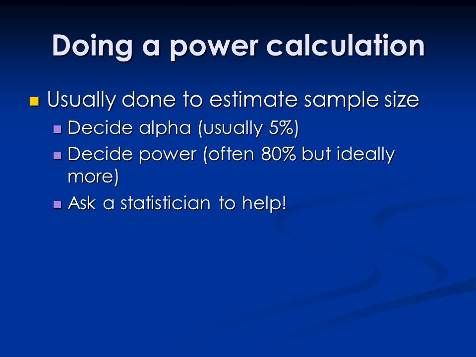 Doing a power calculation