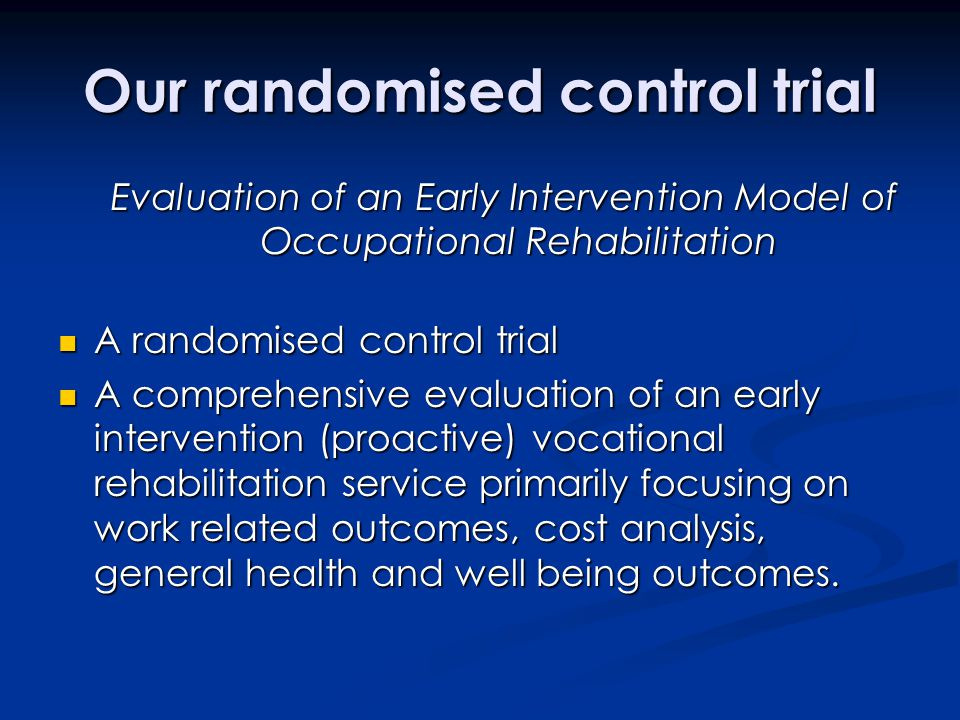 Our randomised control trial