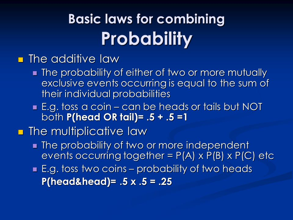 Basic laws for combining Probability