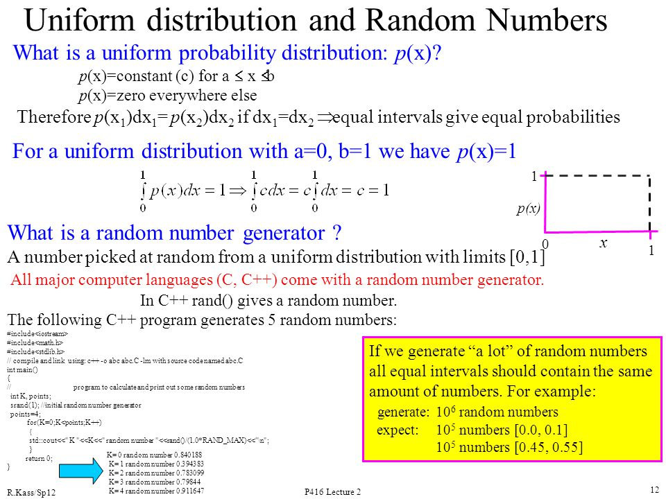 Uniform distribution and Random Numbers