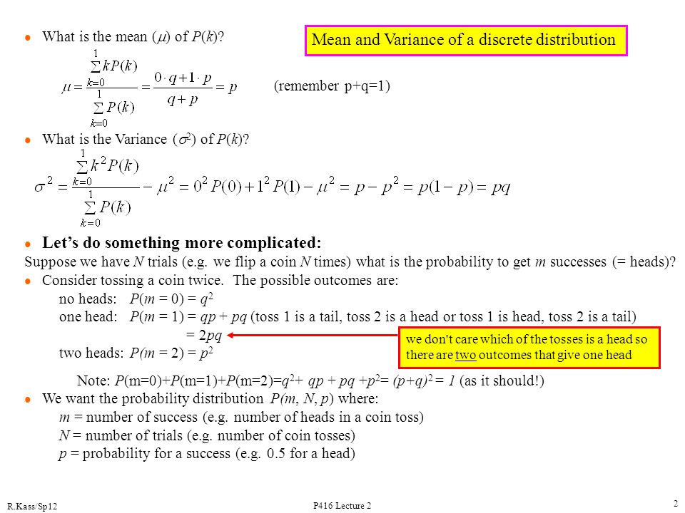 Mean and Variance of a discrete distribution