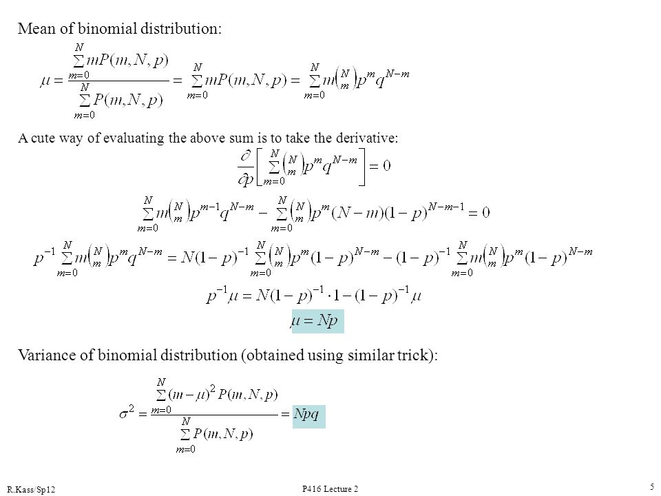 Mean of binomial distribution: