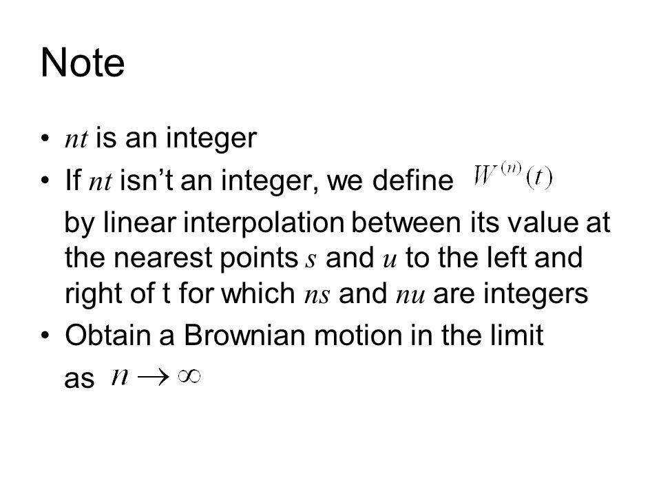 Note nt is an integer If nt isn't an integer, we define