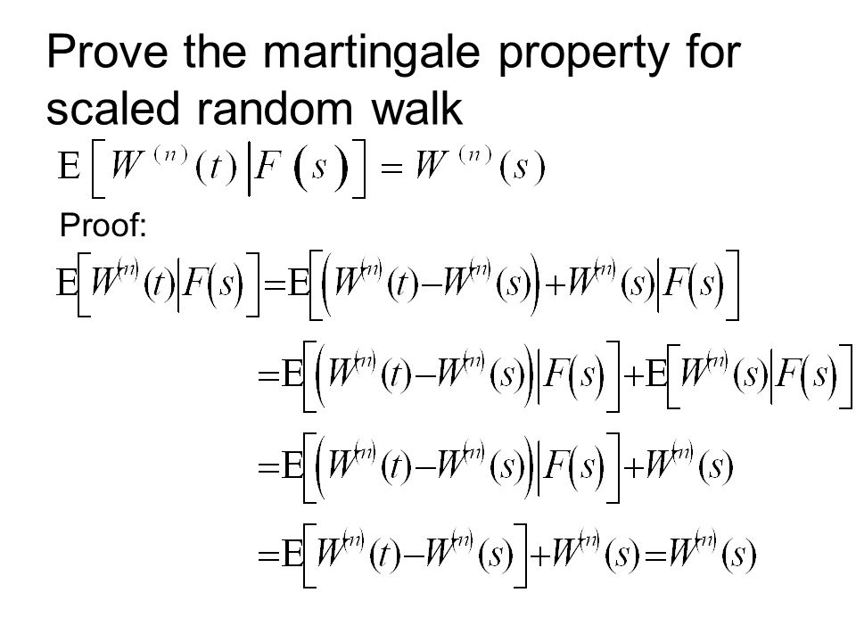 Prove the martingale property for scaled random walk