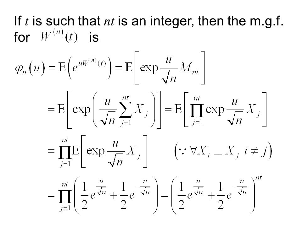 If t is such that nt is an integer, then the m.g.f. for is