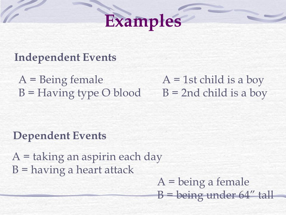 Examples Independent Events A = Being female B = Having type O blood