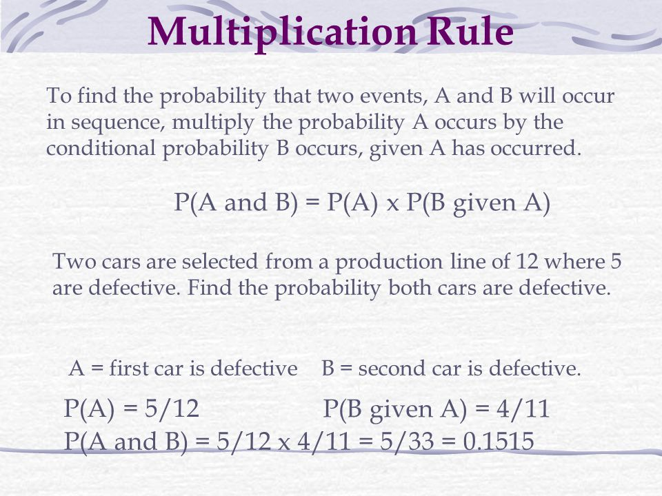 Multiplication Rule P(A and B) = P(A) x P(B given A) P(A) = 5/12