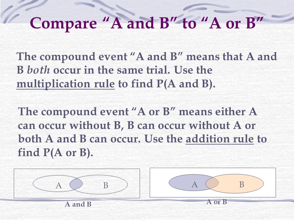 Compare A and B to A or B