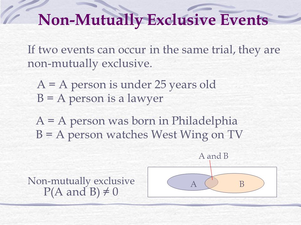 Non-Mutually Exclusive Events
