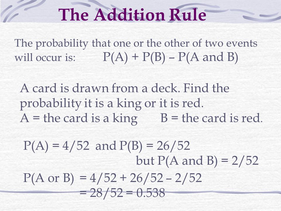 The Addition Rule The probability that one or the other of two events will occur is: P(A) + P(B) – P(A and B)