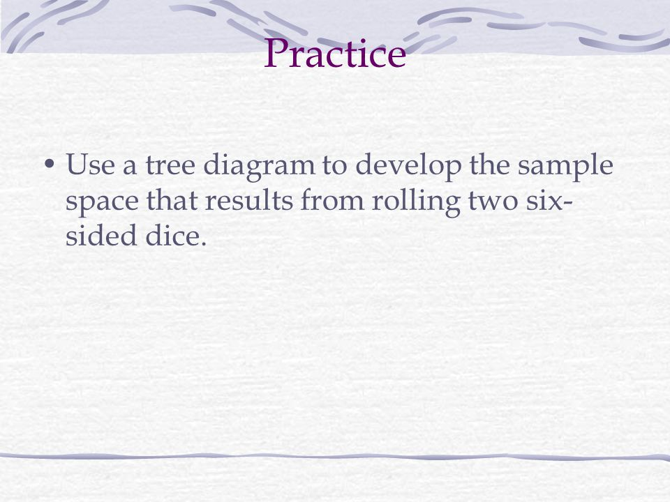 Practice Use a tree diagram to develop the sample space that results from rolling two six-sided dice.