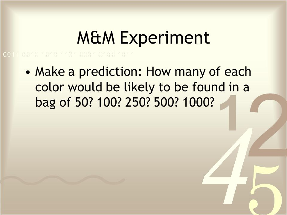 M&M Experiment Make a prediction: How many of each color would be likely to be found in a bag of 50.