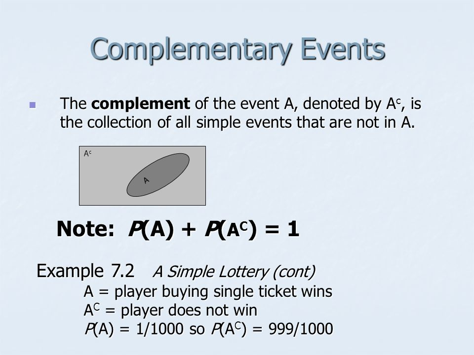 Complementary Events Note: P(A) + P(AC) = 1