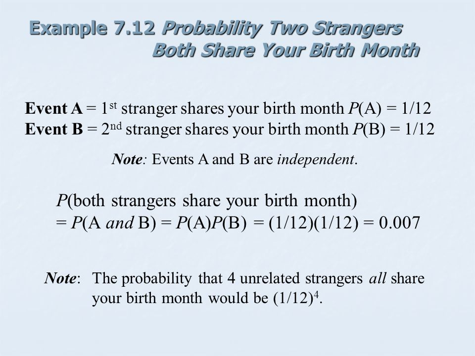 Example 7.12 Probability Two Strangers Both Share Your Birth Month