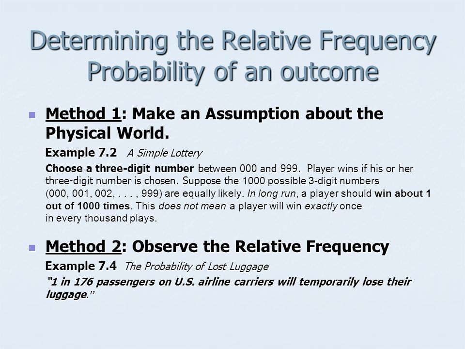 Determining the Relative Frequency Probability of an outcome