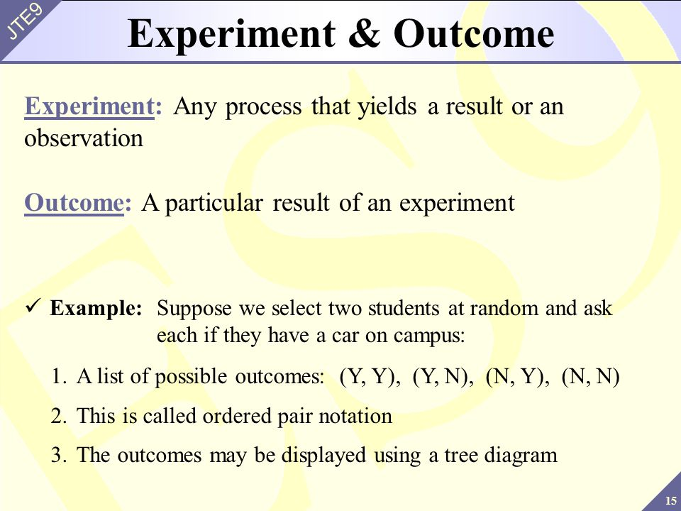 Experiment & Outcome Experiment: Any process that yields a result or an observation. Outcome: A particular result of an experiment.