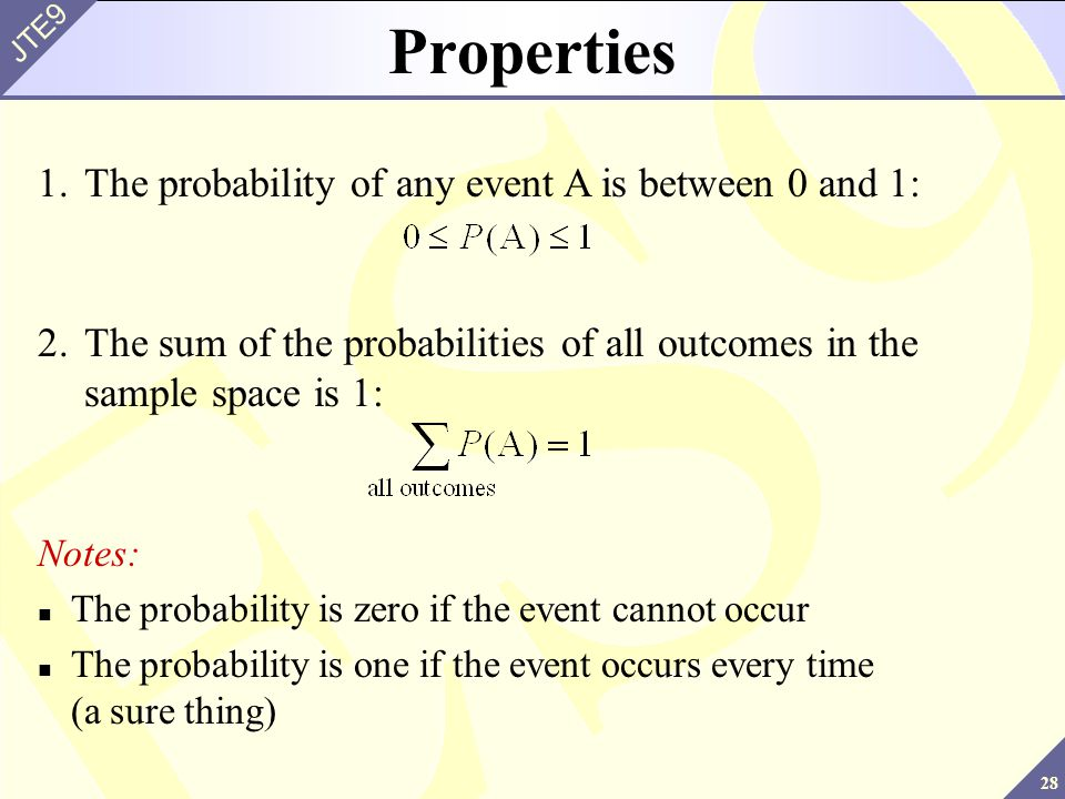 Properties 1. The probability of any event A is between 0 and 1: