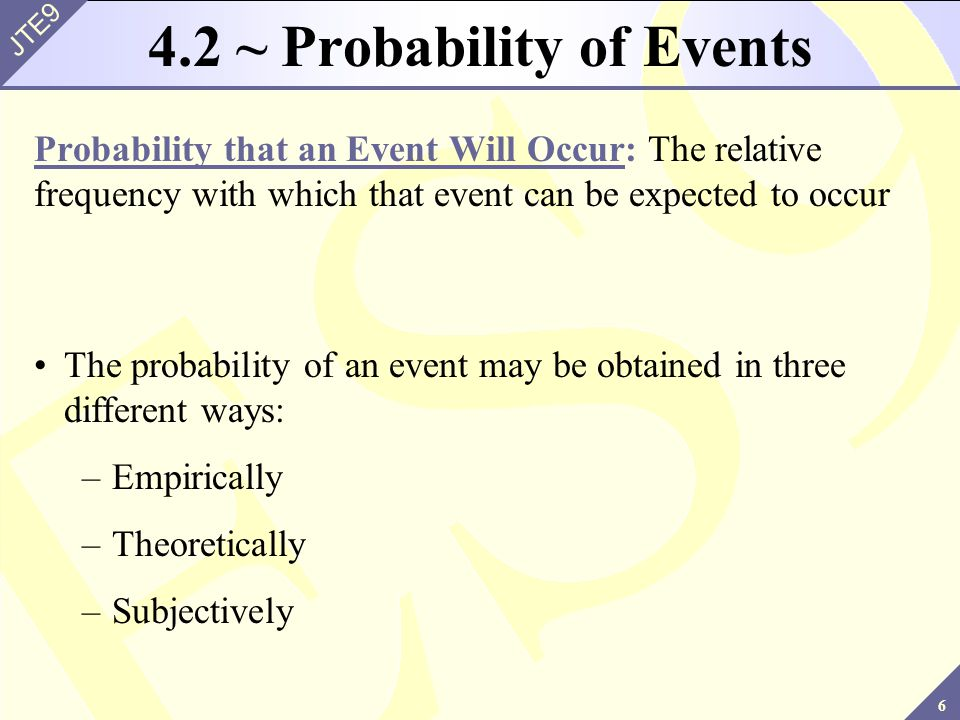 4.2 ~ Probability of Events