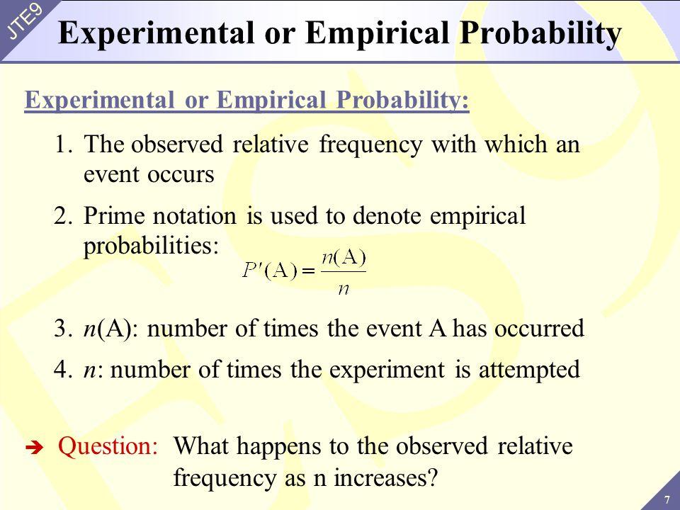 Experimental or Empirical Probability